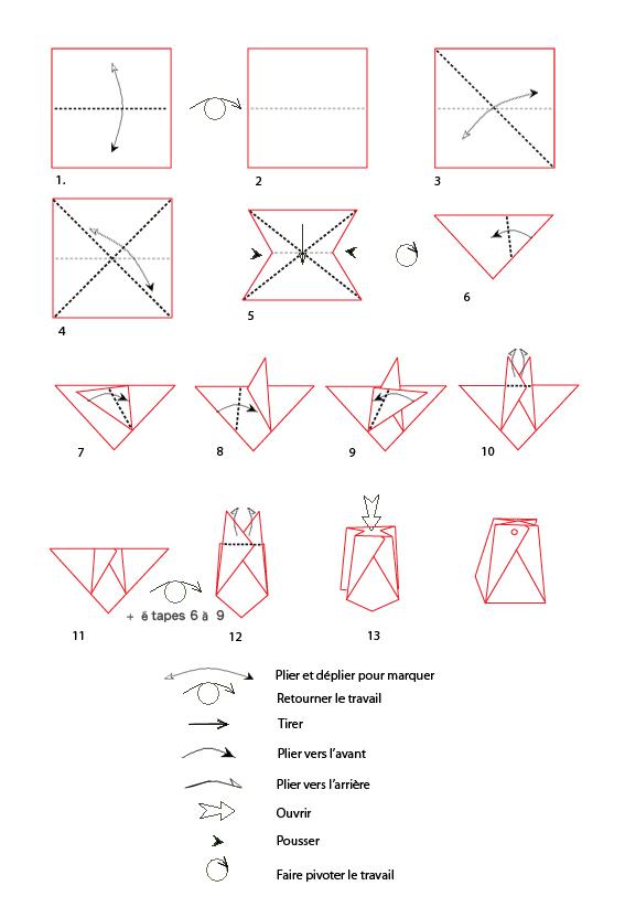 Mod le origami de pochette en papier - Fabriquer un sac en papier ...