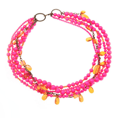 Collier Powerful Pink en Perles